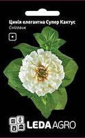 Семена циннии Снеговик, 0,3 гр., элегантная Супер Кактус