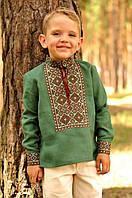 Темно-зеленая детская вышиванка для мальчика из натурального льна (ДМ07/1-236)