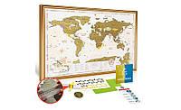 Скретч карта мира Gold в рамке