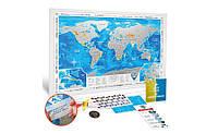 Скретч карта мира Silver в рамке на английском