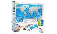 Скретч карта мира Silver в тубусе на английском