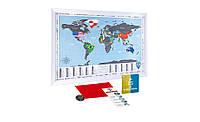 Скретч карта мира в раме Flags edition на английском