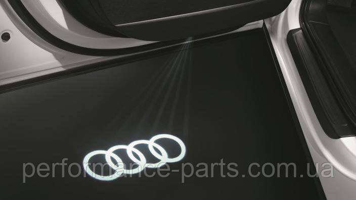 Светодиодная подсветка кольца Audi в двери. Комплект из двух плафонов 4G0052133G