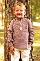 Детская льняная рубашка для мальчика с вышивкой ДМ07/1-286, фото 1