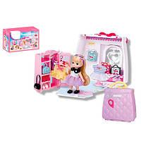 Домик QL052  раскладной, в чемодане,с куколкой, мебель, аксессуары