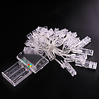 Гирлянда LED на батарейках с прищепками для фото , фото 4