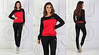 Женский спортивный костюм ткань турецкая двух нитка высокого качества черный с красным, фото 1