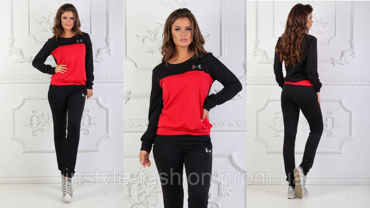 Женский спортивный костюм ткань турецкая двух нитка высокого качества черный с красным