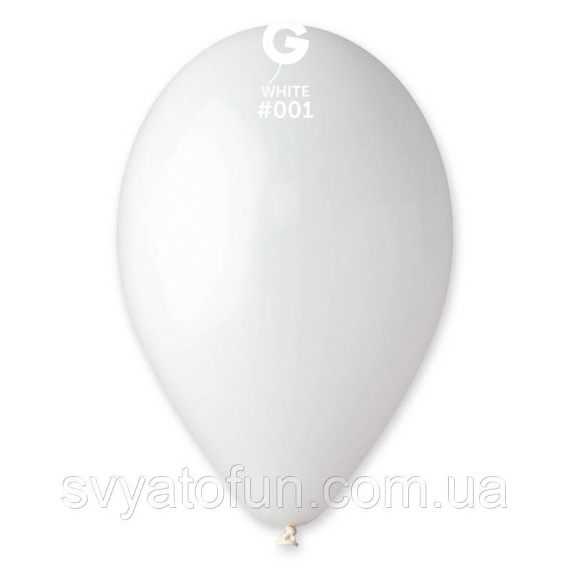 """Латексные воздушные шарики 12"""" пастель 01 белый Gemar"""