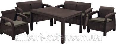 Комплект садових меблів зі штучного ротангу BAHAMAS FIESTA темно-коричневий (Keter)