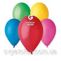 """Латексні повітряні кульки 12"""" пастель 80 асорті Gemar"""