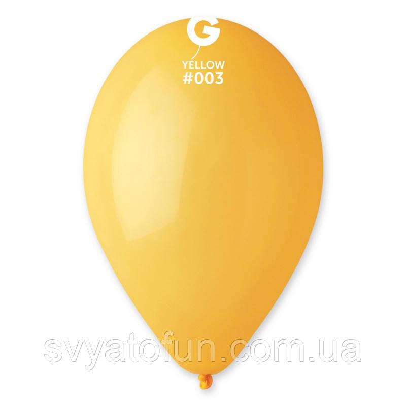 """Латексные воздушные шарики 12"""" пастель 03 желтый, Gemar"""