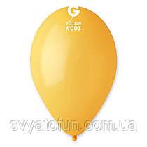 """Латексні повітряні кульки 12"""" пастель 03 жовтий, Gemar"""