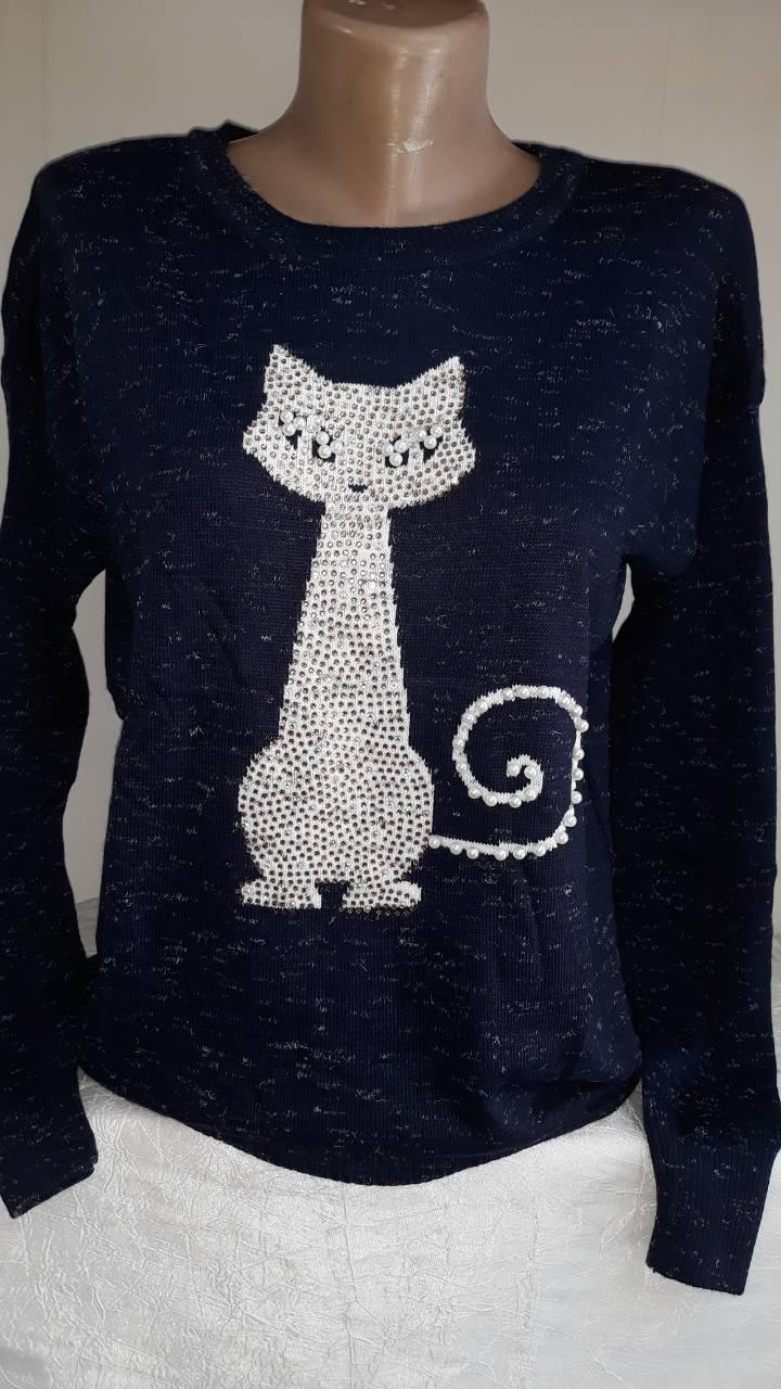 Стильная женская кофточка со стразами Cat Турция