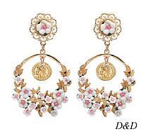 Серьги в стиле Dolce&Gabbana белые