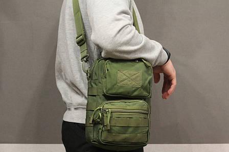 Городская сумка, барсетка на плечо (Fishermen) Olive (9060 олива) , фото 2