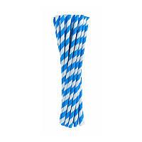 Трубочки для коктейля голубые в полоску (24шт/уп)