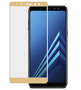 Защитное стекло Full cover Samsung A6+ plus - Золотое