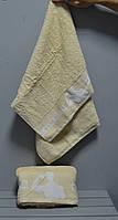 Пляжное махровое полотенца лицевые эксклюзивные фитнес для настоящих мужчин! 50х90 см.,ц. Бежевый