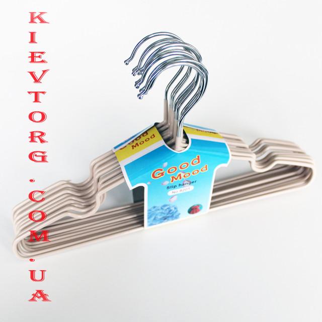 Вешалки тремпеля детские для одежды в шкаф металические, плечики силиконовые бежевые, 30 см, 10 шт