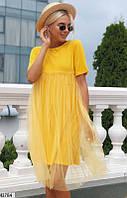 Оригинальное платье мини с фатином короткий рукав от груди свободное желтое