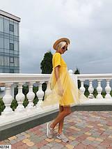 Оригинальное платье мини с фатином короткий рукав от груди свободное желтое, фото 2