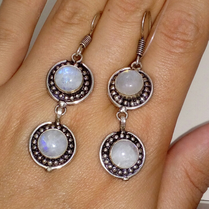 Лунный камень серьги натуральный лунный камень в серебре