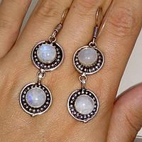 Лунный камень серьги натуральный лунный камень в серебре, фото 1