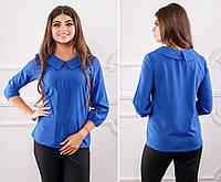 Блузка с воротничком и кружевом ( арт.124),ткань бенгалин+кружево, цвет электрик, фото 1