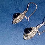 Серебряные серьги с черным ониксом, фото 3