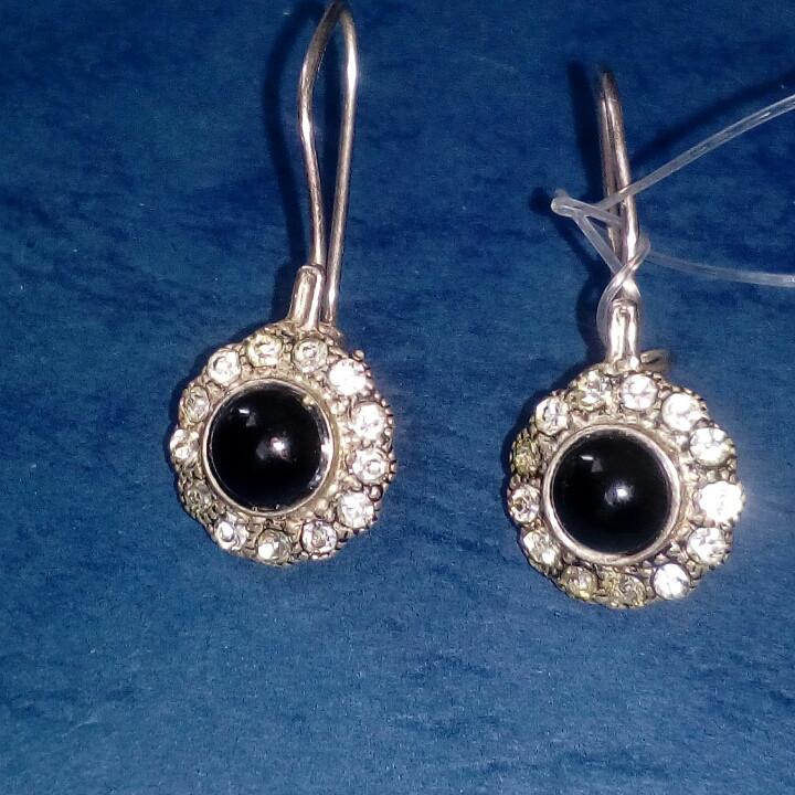 Серебряные серьги с черным ониксом
