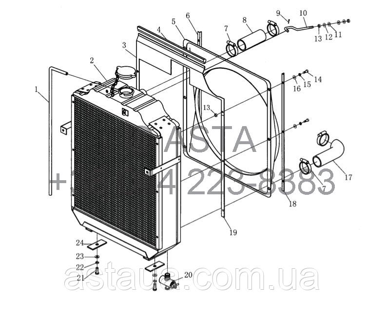 Радиатор на YTO 1104