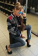 Куртка женская кожаная  косуха, черная, с яркой фурнитурой, фото 1