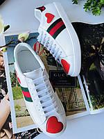 Модные женские кеды Gucci New Ace сердце (реплика), фото 1
