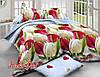 """Красивый двухспальный евро комплект постельного белья """"Тюльпаны""""."""