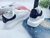 Модные женские кожаные кеды ALEXANDER MCQUEEN черная пятка камни (реплика), фото 1