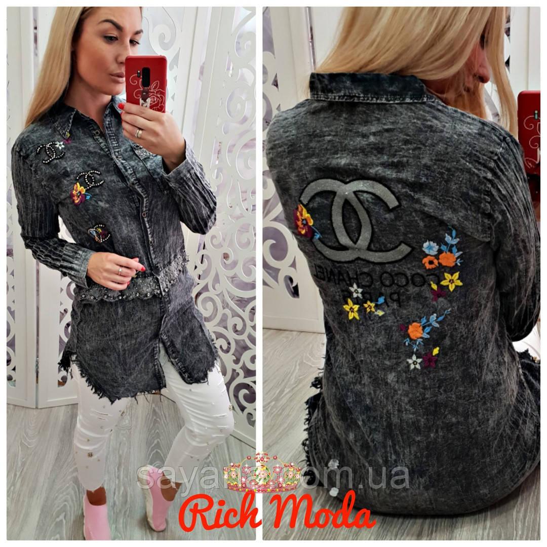 68778770155 Купить Женскую рубашка-тунику с декором в расцветках. ИТ-5-0818 ...