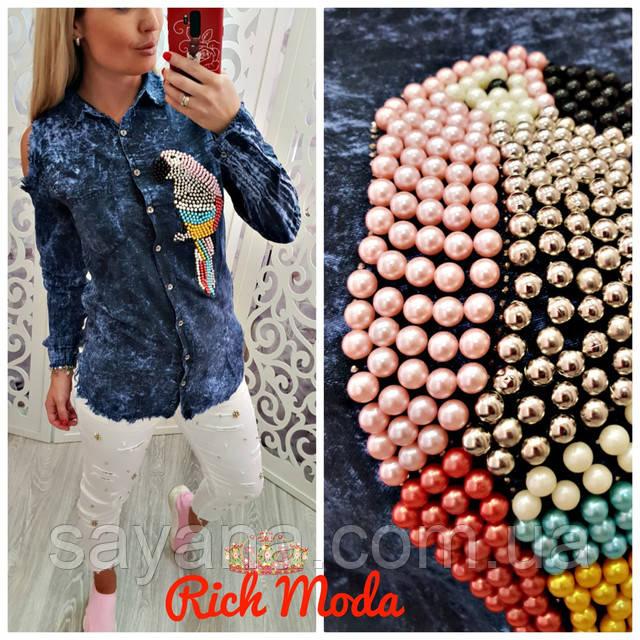 49df068ceb1 Женская рубашка-туника с декором в расцветках. ИТ-6-0818