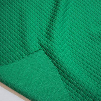 Стеганный трикотаж ромбик зеленый, фото 2