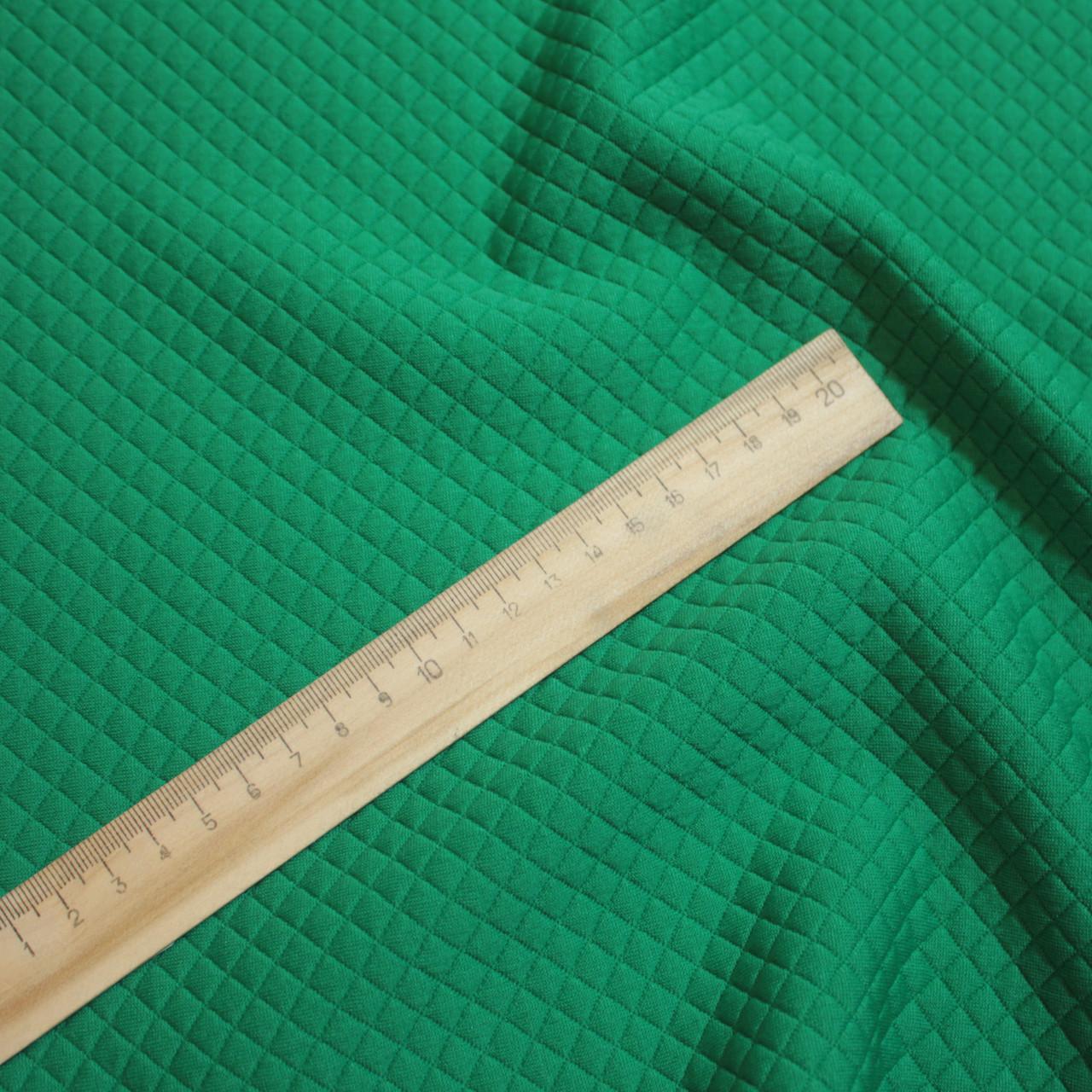 Стеганный трикотаж ромбик зеленый