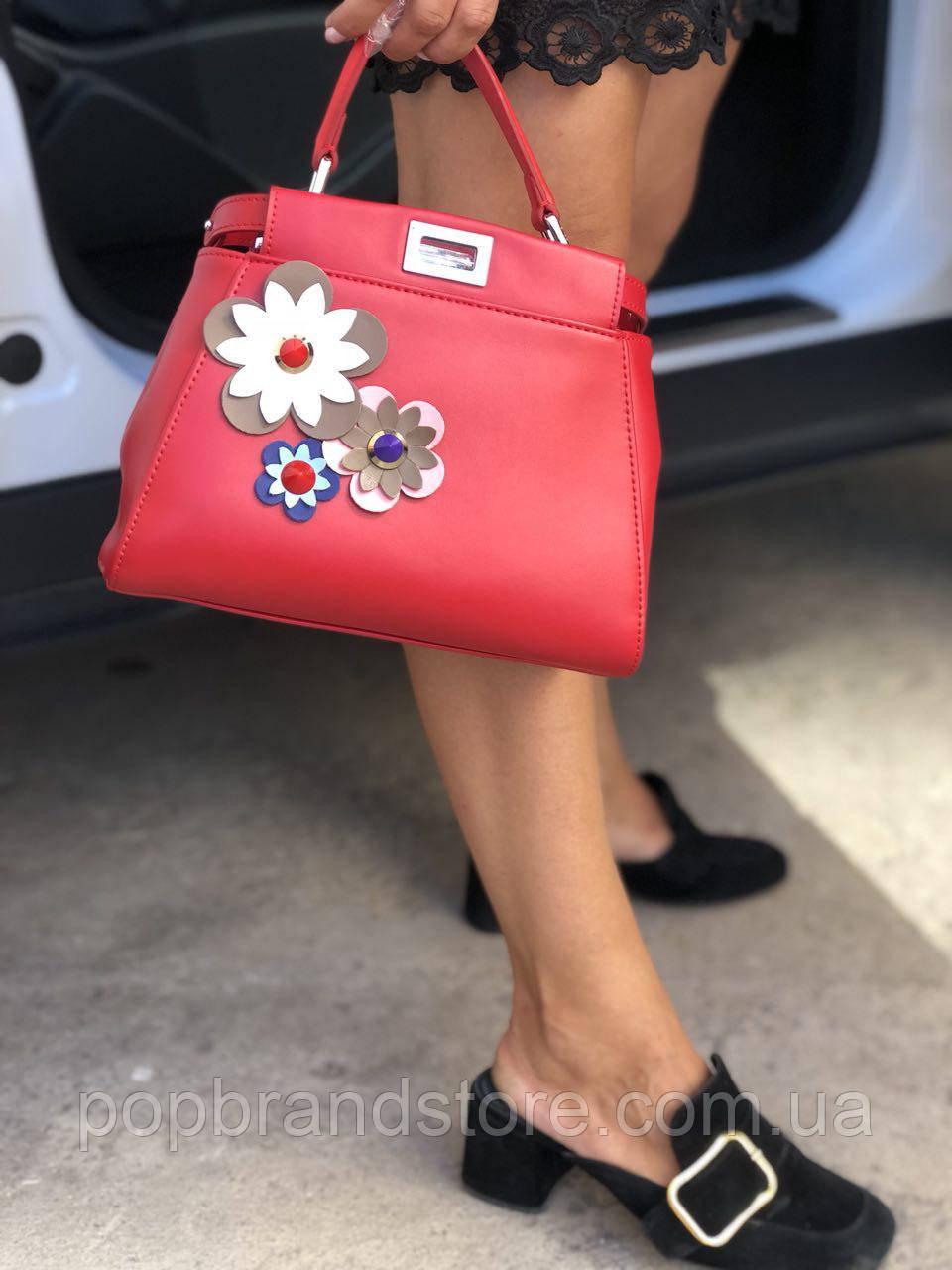 ecba17b4fde8 Стильная женская сумка FENDI PEEKABOO красная (реплика) - Pop Brand Store |  брендовые сумки