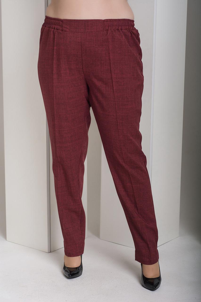Бордовые женские прямые брюки для полных Вог