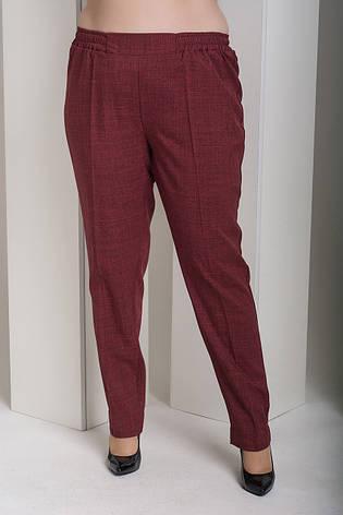 Бордовые женские прямые брюки для полных Вог, фото 2