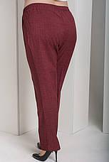 Бордовые женские прямые брюки для полных Вог, фото 3