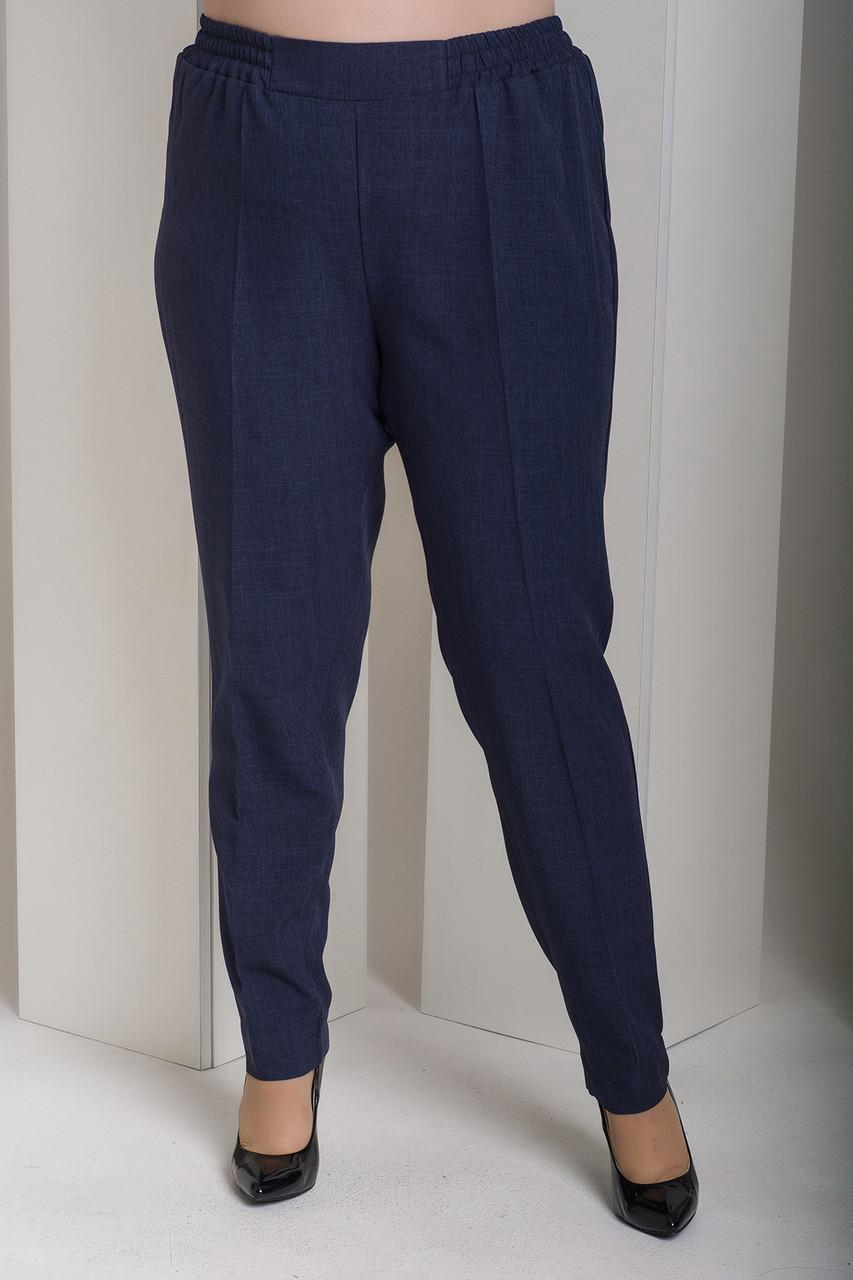 Синие прямые брюки больших размеров Вог