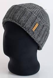 Мужские вязаные шапки с отворотом