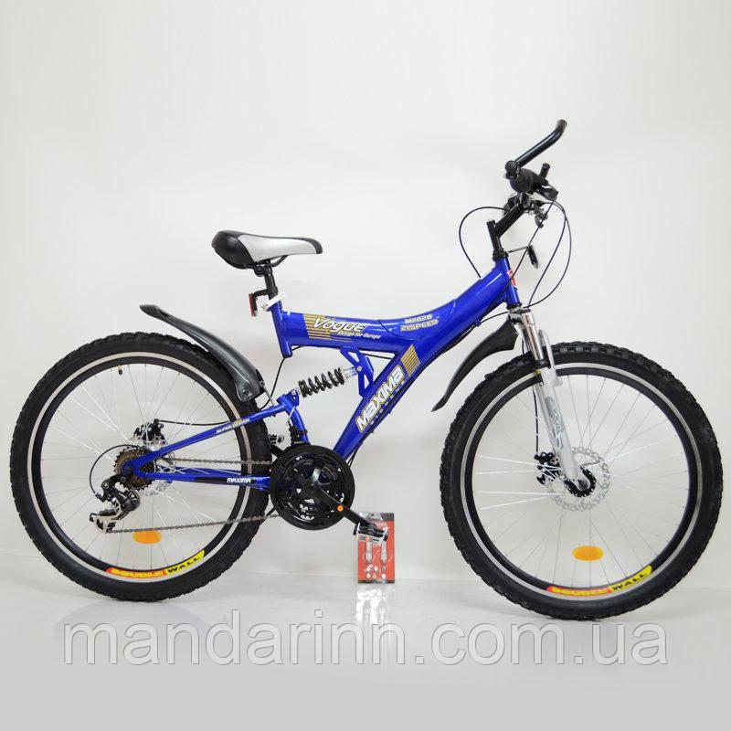 Спортивный велосипед MAXIMA T26-726 26 дюймов. Дисковые тормоза. Синий