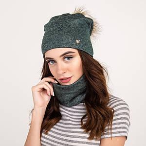 Стильный женский комплект (шапка с помпоном и хомут) - Артикул 2135