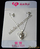 Набор: кулон на цепочке под серебро, серьги-гвоздики с камнями, 12 наборов