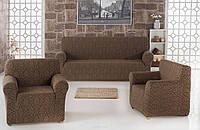 Жакардовий набір чохлів для дивана і крісел шоколадного кольору